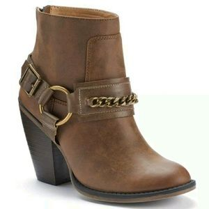 Candies Brown Cognac Leather Chain Western Booties